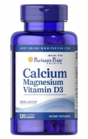 Puritan's Pride Calcium Magnesium with Vitamin D 3 120 каплет